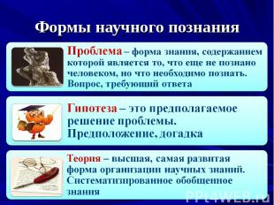 Формы научного познанияПроблема – форма знания, содержанием которой является то,