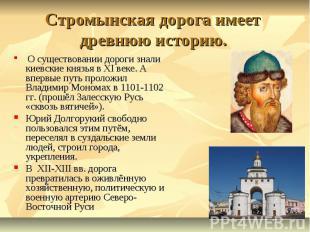 Стромынская дорога имеет древнюю историю. О существовании дороги знали киевские