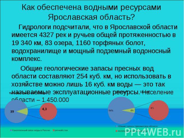 Как обеспечена водными ресурсами Ярославская область? Гидрологи подсчитали, что в Ярославской области имеется 4327 рек и ручьев общей протяженностью в 19 340 км, 83 озера, 1160 торфяных болот, водохранилище и мощный подземный водоносный комплекс. Об…