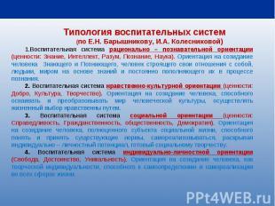 Типология воспитательных систем (по Е.Н.Барышникову, И.А.Колесниковой) Воспита