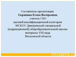 Составитель презентации: Скрипина Елена Валерьевна, учитель СБО высшей квалифика