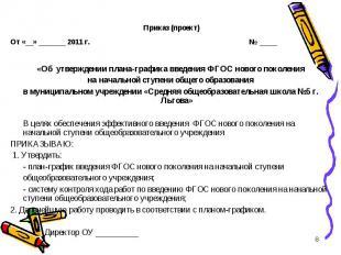 Приказ (проект) От «__» _______ 2011 г. № ___ «Об утверждении плана-графика вве
