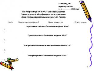 УТВЕРЖДАЮ директор школы ___________ «__» _________ 2011 года План-график введен