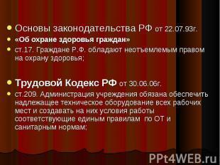 Основы законодательства РФ от 22.07.93г. «Об охране здоровья граждан» ст.17. Гра