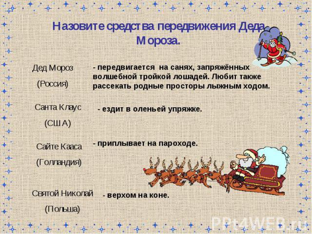 Назовите средства передвижения Деда Мороза.