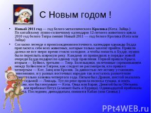 С Новым годом !Новый 2011 год— год белого металлического Кролика (Кота. Зайца.)