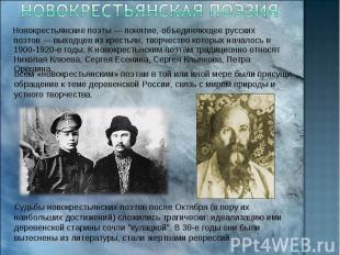 Новокрестьянская поэзия Новокрестьянские поэты— понятие, объединяющее русских п
