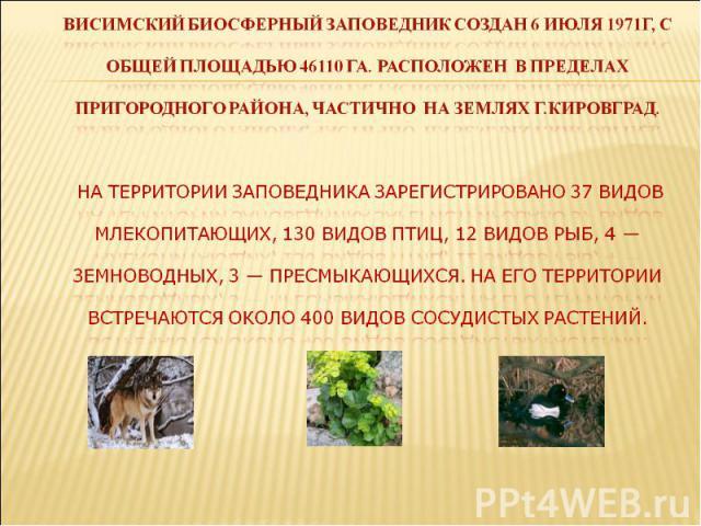 Висимский биосферный заповедник создан 6 июля 1971г, с общей площадью 46110 га. Расположен в пределах пригородного района, частично на землях г.кировград. На территории заповедника зарегистрировано 37 видов млекопитающих, 130 видов птиц, 12 видов ры…