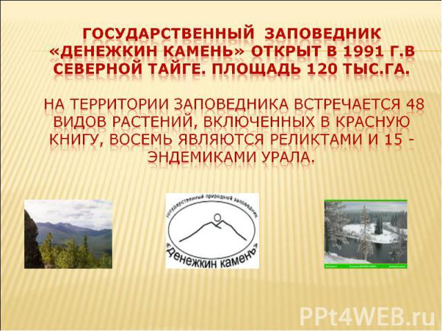 гОсударственный заповедник «денежкин камень» открыт в 1991 г.в северной тайге. Площадь 120 тыс.га. На территории заповедника встречается 48 видов растений, включенных в Красную книгу, восемь являются реликтами и 15 - эндемиками Урала.