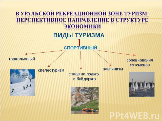 В уральской рекреационной зоне туризм-перспективное направление в структуре экономикиВИДЫ ТУРИЗМА СПОРТИВНЫЙ