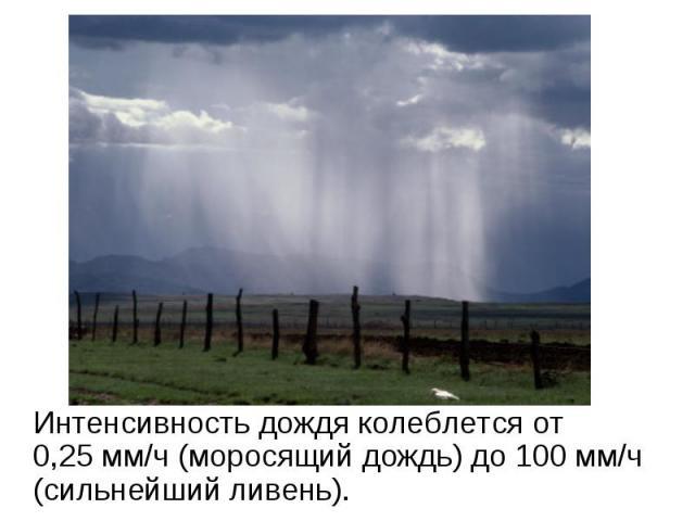 Интенсивность дождя колеблется от 0,25мм/ч (моросящий дождь) до 100 мм/ч (сильнейший ливень).