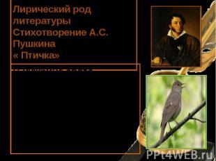 Лирический род литературы Стихотворение А.С. Пушкина « Птичка» В чужбине свято н