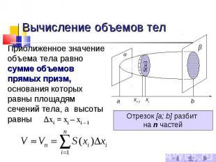 Вычисление объемов тел Приближенное значение объема тела равно сумме объемов пря