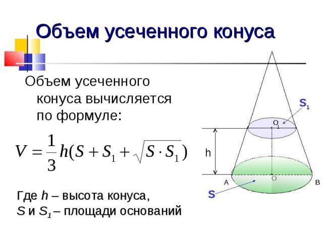 Объем усеченного конуса Объем усеченного конуса вычисляется по формуле: Где h – высота конуса, S и S1 – площади оснований