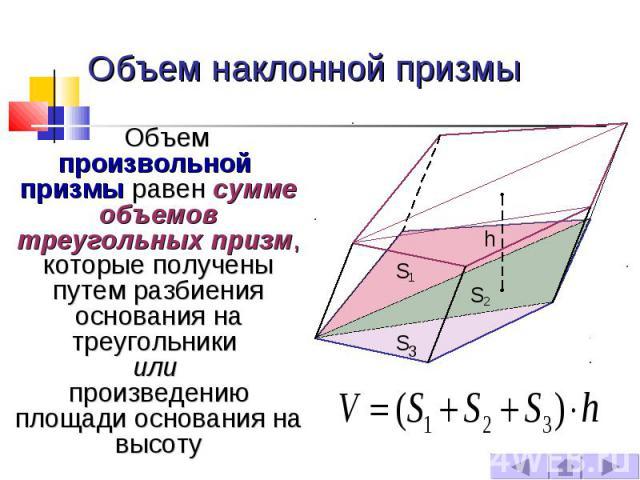 Объем наклонной призмы Объем произвольной призмы равен сумме объемов треугольных призм, которые получены путем разбиения основания на треугольники или произведению площади основания на высоту