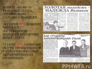 В газете «Маяк» за указанный период опубликовано 17 статей о молодежи. 10 статей