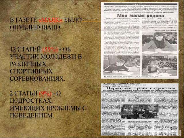 В газете «Маяк» было опубликовано 12 статей (55%) - об участии молодежи в различных спортивных соревнованиях. 2 статьи (9%) - о подростках, имеющих проблемы с поведением.