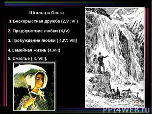 Штольц и Ольга 1.Бескорыстная дружба (2,V ;VI ) 2. Предчувствие любви (4,IV) 3.П