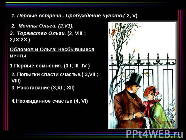 1. Первые встречи,. Пробуждение чувств.( 2, V) 2. Мечты Ольги. (2,V1). 3. Торжество Ольги. (2, VIII ; 2,IX;2X ) Обломов и Ольга: несбывшиеся мечты 1.Первые сомнения. (3.I; III ;IV ) 2. Попытки спасти счастье.( 3,VII ; VIII) 3. Расставание (3,XI ; XI…