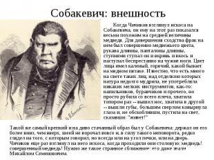 Собакевич: внешность Когда Чичиков взглянул искоса на Собакевича, он ему на этот