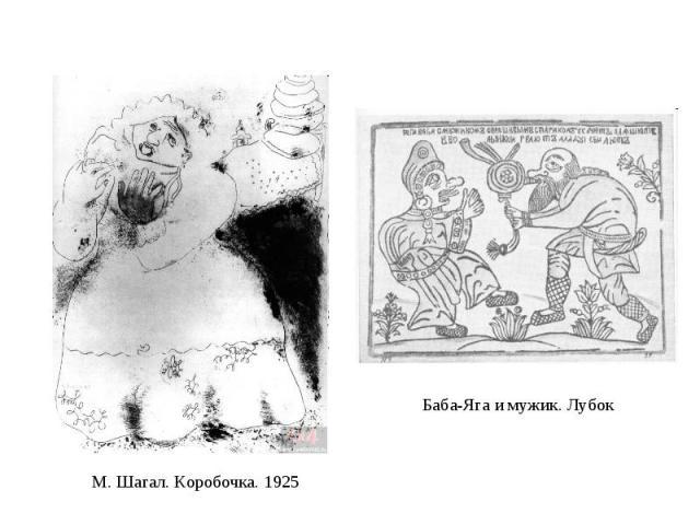 Баба-Яга и мужик. Лубок М. Шагал. Коробочка. 1925