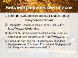 Библиографический список 1.Учебник «Обществознание.11 класс»,2010г Ресурсы Интер