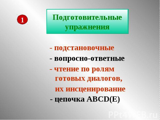 Подготовительные упражнения - подстановочные - вопросно-ответные - чтение по ролям готовых диалогов, их инсценирование - цепочка ABCD(E)