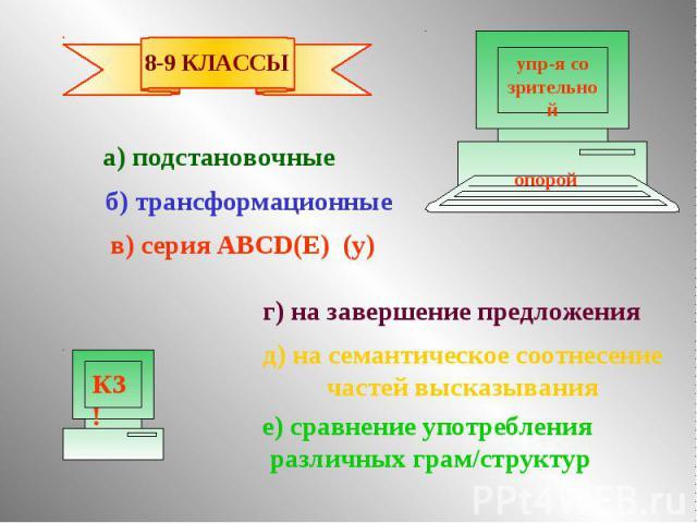 а) подстановочные б) трансформационные в) серия ABCD(E) (y) г) на завершение предложения д) на семантическое соотнесение частей высказывания е) сравнение употребления различных грам/структур