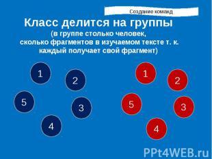 Создание команд Класс делится на группы (в группе столько человек, сколько фрагм