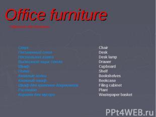 Office furniture Стул Письменный стол Настольная лампа Выдвижной ящик стола Шкаф