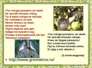«Ты гнезда разорять не смей, Не трогай птичьих гнёзд, Ты в наши гнёзда не смотри