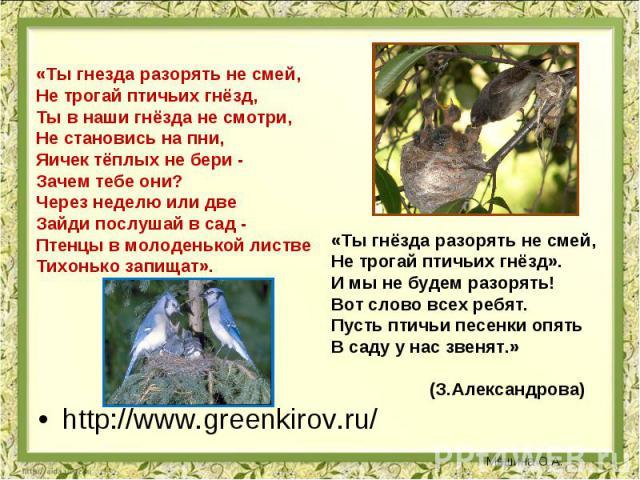 «Ты гнезда разорять не смей, Не трогай птичьих гнёзд, Ты в наши гнёзда не смотри, Не становись на пни, Яичек тёплых не бери - Зачем тебе они? Через неделю или две Зайди послушай в сад - Птенцы в молоденькой листве Тихонько запищат». «Ты гнёзда разор…