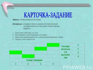 КАРТОЧКА-ЗАДАНИЕ Задание: Оклейка поверхностей обоями  Инструкция: «Определи от