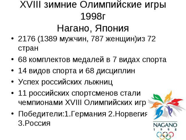 XVIII зимние Олимпийские игры 1998г Нагано, Япония 2176 (1389 мужчин, 787 женщин)из 72 стран 68 комплектов медалей в 7 видах спорта 14 видов спорта и 68 дисциплин Успех российских лыжниц 11 российских спортсменов стали чемпионами XVIII Олимпийских и…