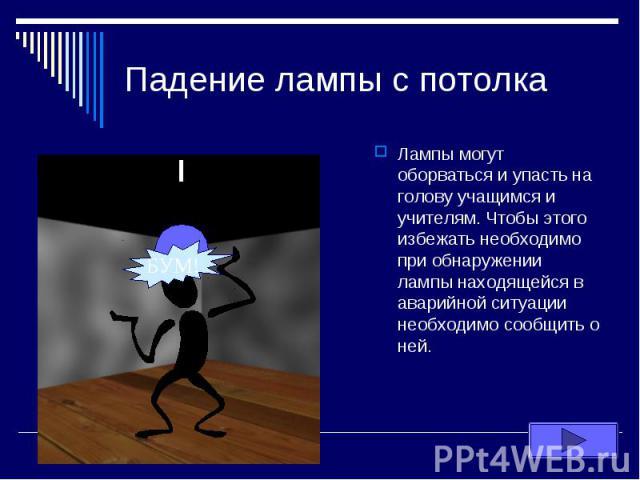 Падение лампы с потолка Лампы могут оборваться и упасть на голову учащимся и учителям. Чтобы этого избежать необходимо при обнаружении лампы находящейся в аварийной ситуации необходимо сообщить о ней.