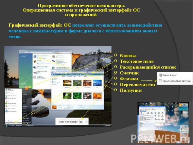 Программное обеспечение компьютера. Операционная система и графический интерфейс ОС и приложений. Графический интерфейс ОС позволяет осуществлять взаимодействие человека с компьютером в форме диалога с использованием окон и меню. Кнопка Текстовое по…
