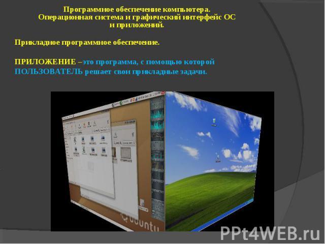 Программное обеспечение компьютера. Операционная система и графический интерфейс ОС и приложений. Прикладное программное обеспечение. ПРИЛОЖЕНИЕ –это программа, с помощью которой ПОЛЬЗОВАТЕЛЬ решает свои прикладные задачи.