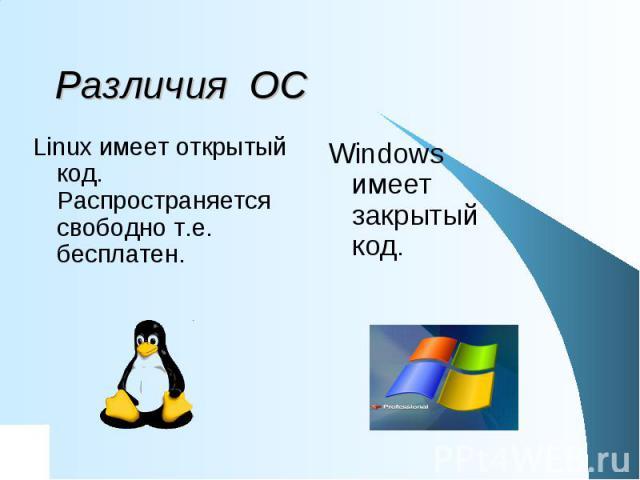 Различия ОС Linux имеет открытый код. Распространяется свободно т.е. бесплатен. Windows имеет закрытый код.