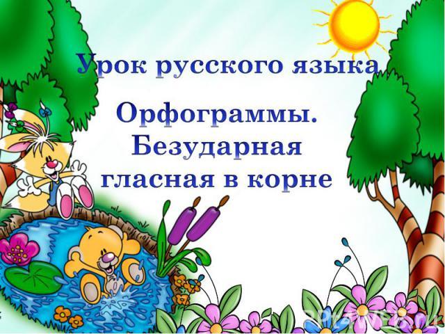Урок русского языка Орфограммы. Безударная гласная в корне