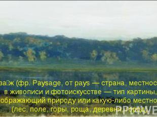 Пейза ж (фр. Paysage, от pays — страна, местность), в живописи и фотоискусстве —