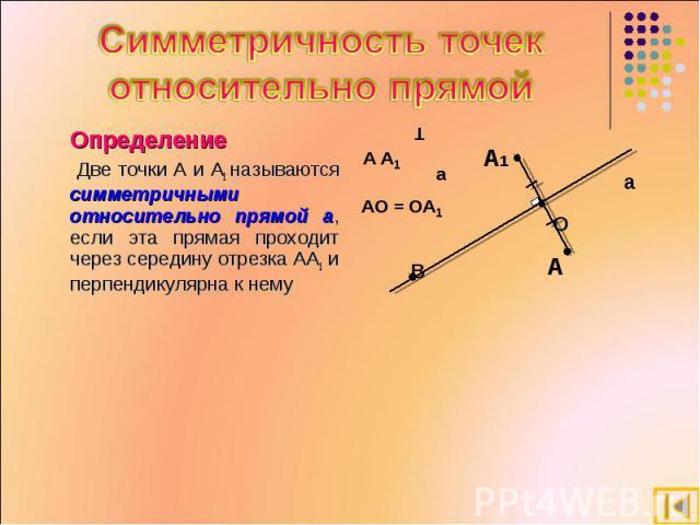 Симметричность точек относительно прямой Определение Две точки А и А1 называются симметричными относительно прямой а, если эта прямая проходит через середину отрезка АА1 и перпендикулярна к нему
