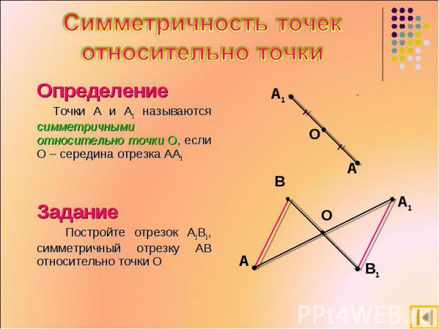 Симметричность точек относительно точки Определение Точки A и A1 называются симметричными относительно точки О, если О – середина отрезка AA1 Задание Постройте отрезок A1B1, симметричный отрезку AB относительно точки О