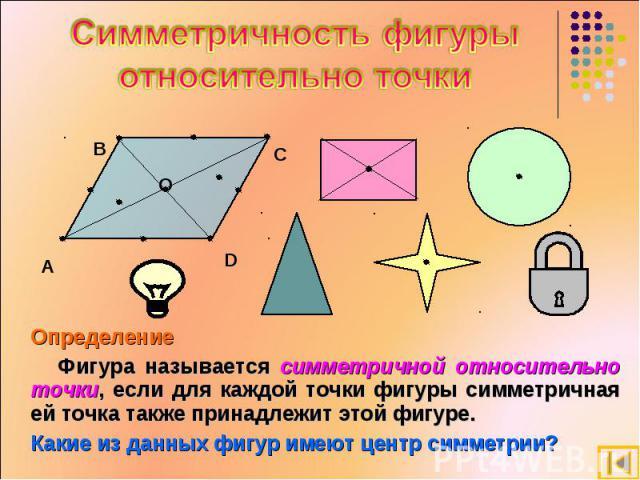 Симметричность фигуры относительно точки Определение Фигура называется симметричной относительно точки, если для каждой точки фигуры симметричная ей точка также принадлежит этой фигуре. Какие из данных фигур имеют центр симметрии?