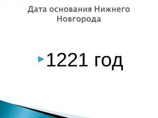 1221 год Дата основания Нижнего Новгорода