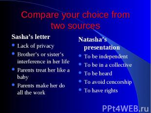 Compare your choice from two sources Sasha's letter Lack of privacy Brother's or