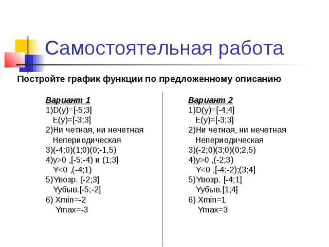 Самостоятельная работа Постройте график функции по предложенному описанию Вариант 1 1)D(y)=[-5;3] E(y)=[-3;3] 2)Ни четная, ни нечетная Непериодическая 3)(-4;0)(1;0)(0;-1,5) 4)y>0 ,[-5;-4) и (1;3] Y0 ,(-2;3) Y