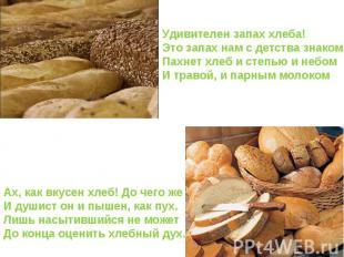 Удивителен запах хлеба! Это запах нам с детства знаком Пахнет хлеб и степью и не