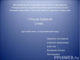 Муниципальное общеобразовательное учреждение «Некрасовская средняя общеобразоват