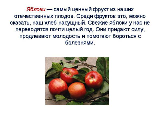 Яблоки — самый ценный фрукт из наших отечественных плодов. Среди фруктов это, можно сказать, наш хлеб насущный. Свежие яблоки у нас не переводятся почти целый год. Они придают силу, продлевают молодость и помогают бороться с болезнями.