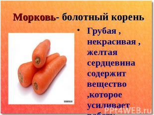 Морковь- болотный корень Грубая , некрасивая , желтая сердцевина содержит вещест